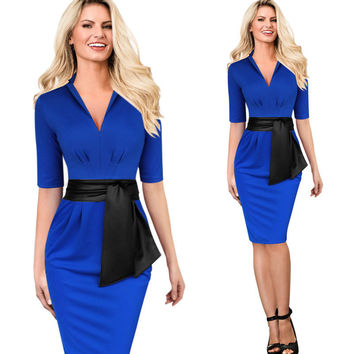 Autumn 2016 Fashion Elegant Half-Sleeve V-Neck Soild Color Blue And Pink Package hip Body sculpting women's Dress With Blte