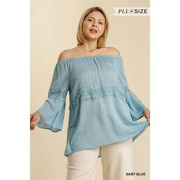 Umgee Plus Off Shoulder Bell Sleeve Crochet Lace Accent Tunic Top