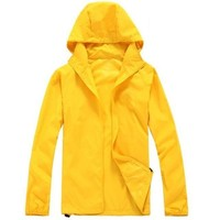 J&D Life Adults Packable Rain Jacket (Small, Yellow)
