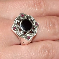 Vintage Rubies and Black Onyx Sterling Silver Moorish Quatrefoil Clover Gothic Ring, Byzantine, Four Natural Red Rubies, Inlaid Black Onyx