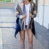 The Emma Tan/Navy Knit Cardigan