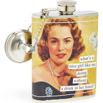 Anne Taintor 'What's a Nice Girl Like Me Doing Without a Drink in Her Hand?' Stainless Steel Flask