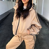 2020 autumn and winter new women's fashion sports solid color hooded zipper cardigan trousers two-piece suit
