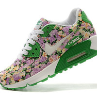 Green Floral Nike Air Max 90 Running Shoes