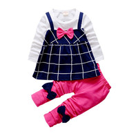 Toddler Kids Baby Girl Outfits Clothes Princess Rose White Plaid T-shirt Bow Tops Dress+Cute Pants 2 pcs Clothing Set ht