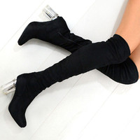 MISK Fashion Clear Perspex Block Heel Design Over Knee Boots In Black – NaomiShu