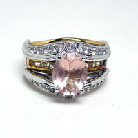 Pink Tourmaline Sterling Ring w Diamonds and Gold & Silver Setting