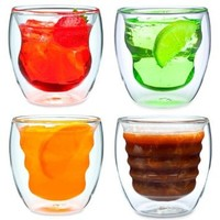 Curva Artisan Series Double Wall Beverage Glasses and Tumblers - Unique 8 oz Thermo Insulated Drinking Glasses, Set of 4: Kitchen & Dining