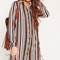 Missguided - Long Sleeve Tie Side Stripe Shirt Dress Multi