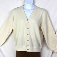 Mens size XL Vintage Ivory Grandpa Cardigan Sweater by Indian Button Front