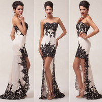 APPLIQUE Long Ball Gown Dress Evening Homecoming Wedding Prom Dresses Plus Size