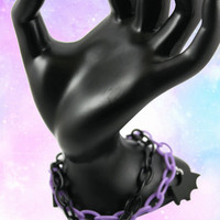 Pastel Goth Double Plastic Chain Bracelet with Purple Cross and Black Bat Wings