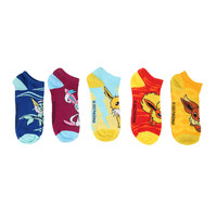Pokemon Eevee Evolution Mix & Match No-Show Socks 5 Pair