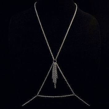 triangle and chain tassel body chain with silver toned pretzel chain