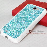 blue floral rubber case Samsung Galaxy Note 2 case  Note II case N7100 case Samsung  Galaxy S4 case I9500 case Silicon cases
