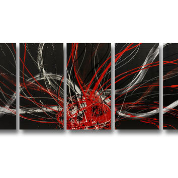 Abstract art canvas painting   black white red. Wall art paintings