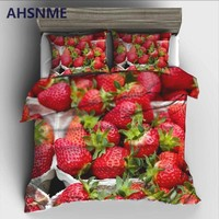 AHSNME Fruit Queen Red Strawberry Bedding Set High-definition Print Quilt Cover for US AU EU Size market jogo de cama