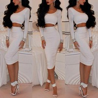 Fashion Solid color tight two-piece dress