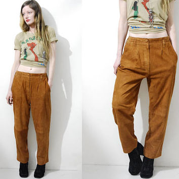 80s Vintage TAN SUEDE Pants Butter Soft Leather Jeans Loose-fit Baggy Straight Leg Trousers 70s style Bohemian Boho Hippie vtg 1980s vtg S-M
