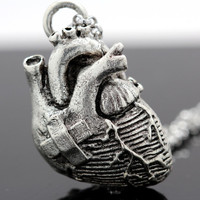 Broken Heart Anatomical Heart Necklace in antique silver on a 24 inch chain (Original Design & Made in NYC)
