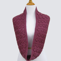 Berry Purple Lace Infinity Scarf, Circle, Cowl, Women Loop scarf, Wool, Gift, FREE SHIPPING, Hand Knit, Original Design