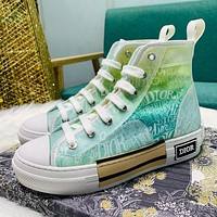 Dior CD new film gradient color high-top sneakers couple hip-hop sneakers casual flat shoes