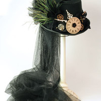 Victorian trading Co. - www.victoriantradingco.com - Black Tulle Steam Punk Hat