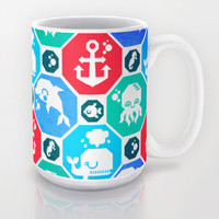 Marine Animals Geometric Pattern Mug by chobopop