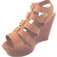 MADDEN GIRL BROWN KLOVERRR LEATHER 4 BUCKLE WEDGE SANDALS women's shoes 10M NEW