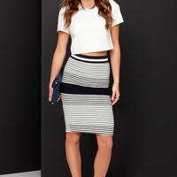 Tell Me Lines Ivory and Navy Blue Striped Pencil Skirt