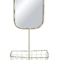 Wall Mirror w/ Basket 3 hooks - Over Sized Item