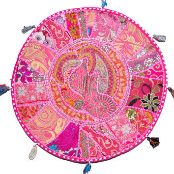 """Pink 22"""" Patchwork Round Floor Pillow Cushion round embroidered Bohemian Patchwork floor cushion pouf Vintage Indian Foot Stool Bean Bag"""