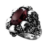 Alchemy Gothic Shadow of Death Skulls Ring