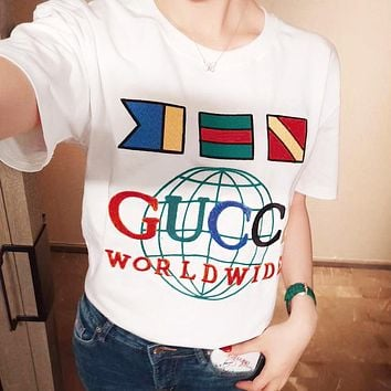 GUCCI Fashionable Women Men Casual Embroidery Short Sleeve Round Collar-Shirt Top