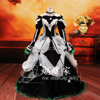 Free shipping Anime Vocaloid cosplay white black Dress Loro Rita maid outfit Halloween costume for women for party/ christmas
