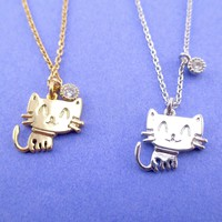 Kawaii Cartoon Kitty Cat Shaped Choker Necklace in Gold or Silver