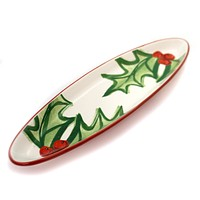 Tabletop HOLLY LEAVES TRAY Ceramic Oval Christmas 1771138