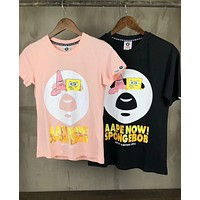 Aape Bape SpongeBob SquarePants Popular Women Men Loose Short Sleeve Lovers T-Shirt Top I-XMCP-YC