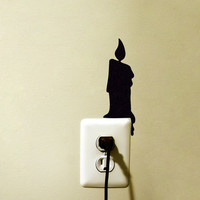Black Candle Velvet Sticker - Candle Stick Wall Decal - Home Decor Decals - Light Switch Decor