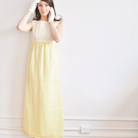 mod yellow prom dress . 1960 spring bridesmaid gown .small.medium .disaster relief