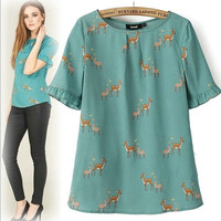 Green Deer Pattern Ruffle Short-Sleeve Blouse