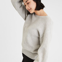 AE Blouson Sleeve Textured Pullover, Gray