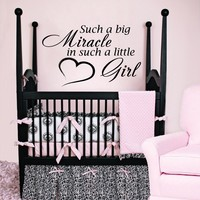 Wall Decal Vinyl Sticker Decals Art Home Decor Murals Quote Decal Such a big Miracle in such a little Girl Decals Childrens Kids Nursery Baby Decor Love Heart Decal V940