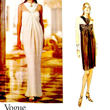 90s Vogue Sewing Pattern 1505 Easy Sew Pattern Evening Dress Fishtail Back Cocktail Length Bill Blass Vintage Patterns Size 12 14 16 Uncut