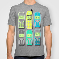 Vintage Cellphone Pattern T-shirt by Chobopop