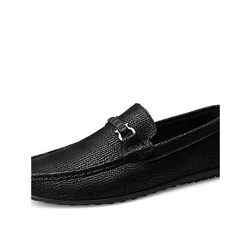 Men's Leather Shoes Nappa Leather Spring & Summer / Fall & Winter Business / Casual Loafers & Slip-Ons Walking Shoes Non-slipping Black / Office & Career / Moccasin