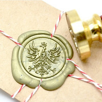 Heraldic Eagle Phoenix with Crown Gold Plated Wax Seal Stamp x 1