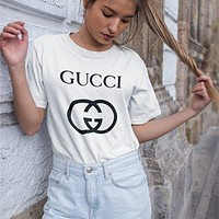 GUCCI  new classic interlocking letter printing round neck T-shirt