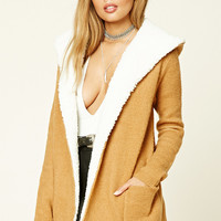 Faux Shearling Hooded Cardigan