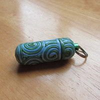 Polymer Filigree Keychain, ID Canister, Nitro, Pill Holder Key Ring with secret compartment in Green and Blue